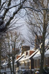 Arts and Crafts style houses in Bedford Park during a snow storm.