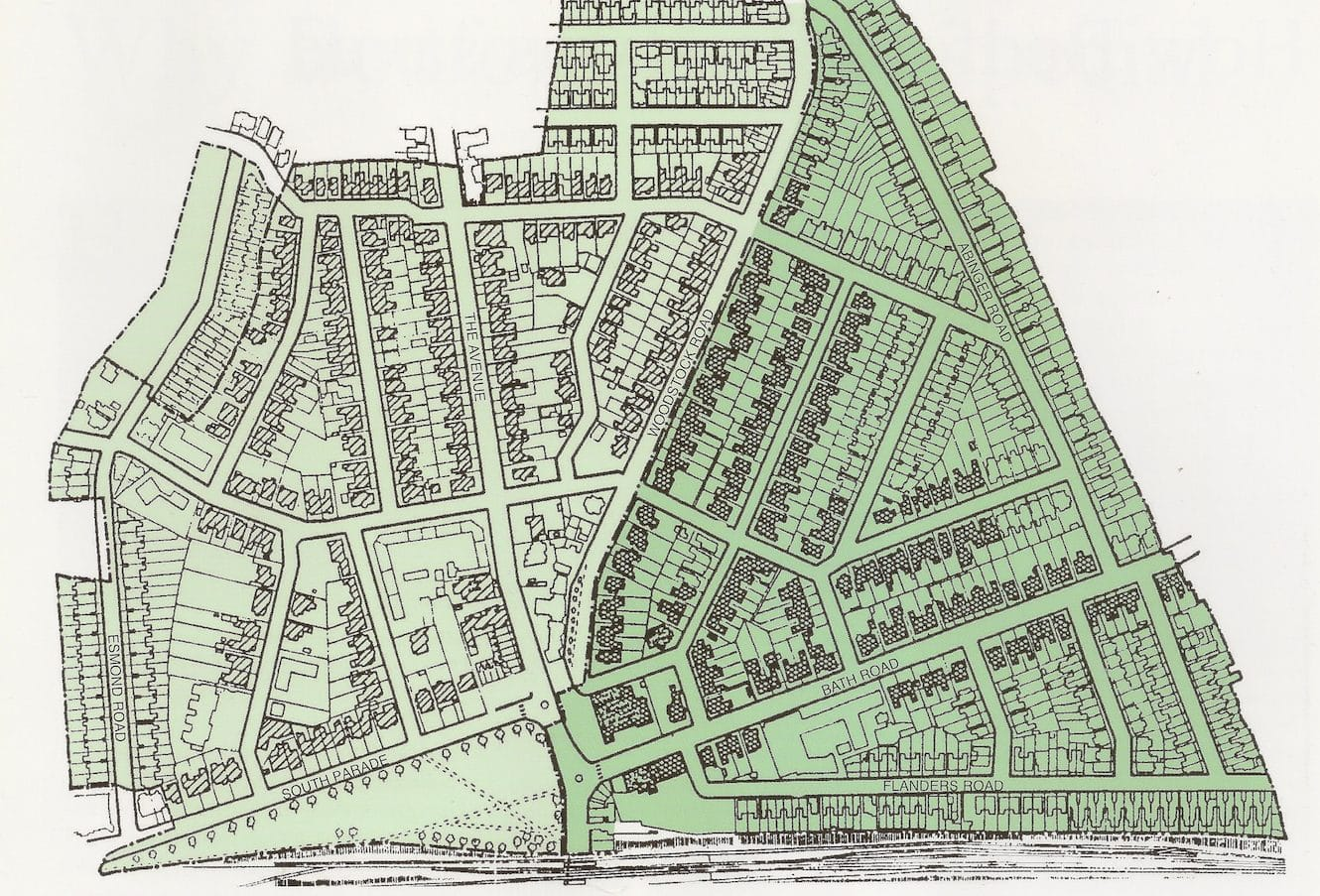 The Bedford Park conservation area stretches from Esmond Road in the west to Abinger Road in the east; from Flanders Road in the South to Fielding Road in the north. Listed houses are shaded.